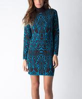 Yuka Paris Brown & Turquoise Abstract Turtleneck Sweater Dress