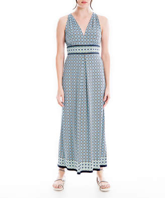 Max Studio Women's Maxi Dresses CRNAYMCD - Cream & Navy Geometric Sleeveless Empire-Waist Dress - Women