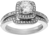 Journee Collection 1 1/2 CT. T.W. Round-cut Cubic Zirconia Halo Bridal Prong Set Ring Set in Sterling Silver - Silver