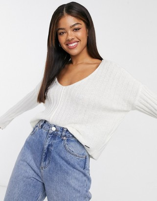 Abercrombie & Fitch v-neck lightweight knit sweater in cream