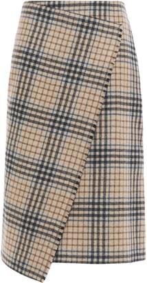 Dagmar House Of Darda Wrap-effect Checked Wool-blend Felt Skirt