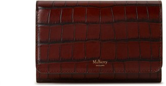 Mulberry Medium Continental French Purse Cognac Brown Vintage Croc Print
