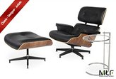MLF Eames Lounge Chair & Ottoman + Eileen Gray End Table (Chair: Black Italian Leather + Walnut)(21 Combinations)