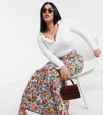 Neon Rose plus maxi skirt in vintage floral