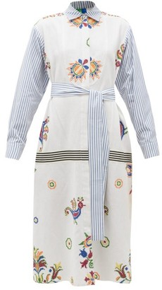 RIANNA + NINA Vintage Cross-stitch And Stripe Cotton Shirt Dress - Multi
