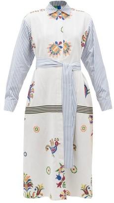 Rianna + Nina - Vintage Cross-stitch And Stripe Cotton Shirt Dress - Womens - Multi