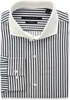 Sean John Men's Regular Fit Stripe Spread Collar Dress Shirt