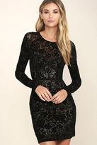 LuLu*s Cor-Set to Go Black Burnout Velvet Print Dress