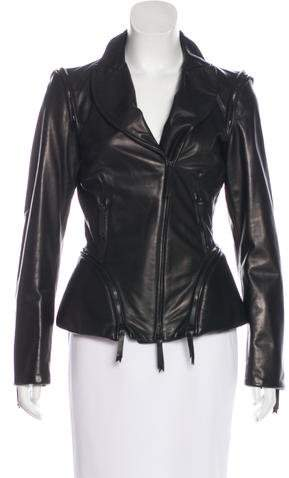 Gianfranco Ferre Leather Zip-Up Jacket