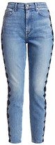 7 For All Mankind Floral Stripe High-Rise Skinny Ankle Jeans