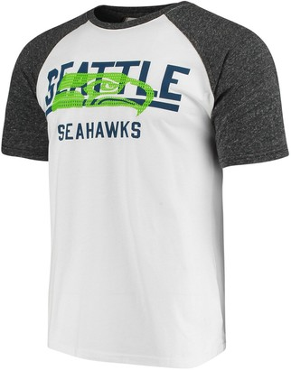 Men's G-III Sports by Carl Banks White/Heathered Gray Seattle Seahawks Heritage Raglan Tri-Blend T-Shirt