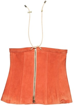 Balmain Orange Suede Top for Women