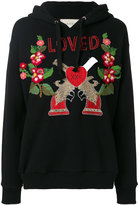 Gucci - embroidered hooded sweatshirt