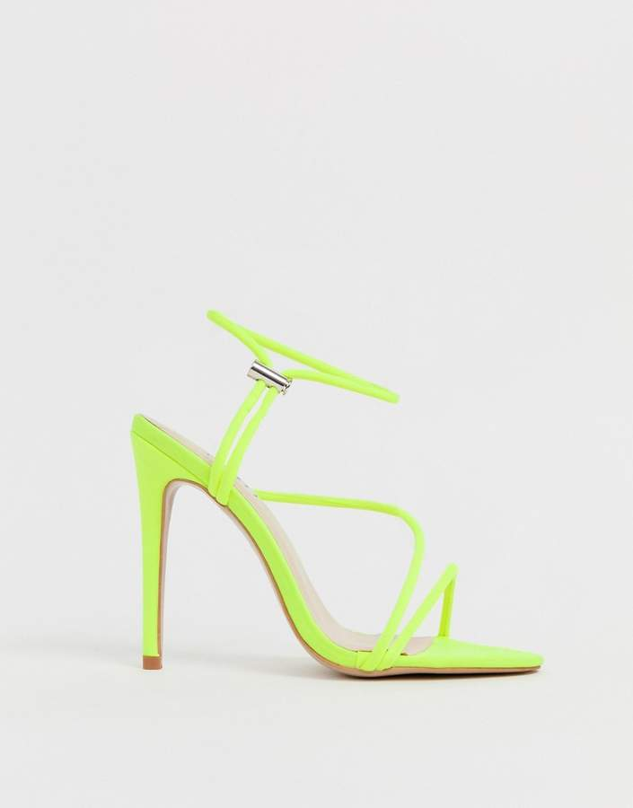 739c7f793f2 Simmi Shoes Simmi London Cassie neon yellow toggle detail heeled sandals