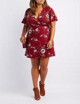 Charlotte Russe Plus Size Floral Wrap-Tie Skater Dress