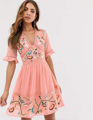 Asos Design DESIGN embroidered mini dress with lace trims-Pink
