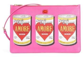 Dolce & Gabbana Cleo Soup Can Print Leather Shoulder Bag