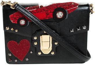 Dolce & Gabbana Black Embossed Leather Embellished Lucia Crossbody Bag