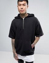 Asos Oversized Short Sleeve Hoodie In Black