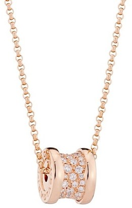 Bvlgari B.zero1 18K Rose Gold & Pave Diamond Necklace