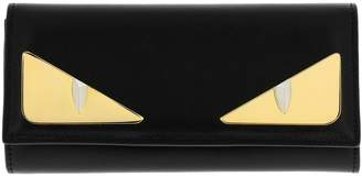 Fendi Monster Eyes Continental Wallet In Smooth Leather With Maxi Metallic Eyes Bag Bugs
