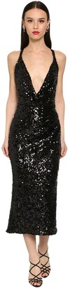 Dolce & Gabbana Sequined Cross Back Pencil Midi Dress