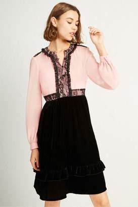 French Connection Ednae Velvet Lace Mix Dress