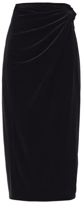 16Arlington Moriyo Draped-velvet Pencil Skirt - Black
