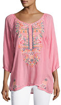 Johnny Was Linnet Embroidered 3/4-Sleeve Blouse, Plus Size