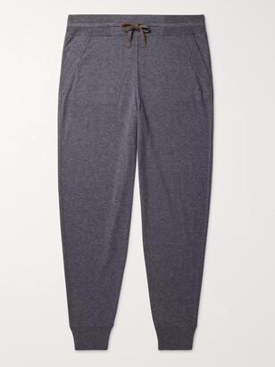 Loro Piana Portland Tapered Melange Cashmere and Silk-Blend Sweatpants - Men - Gray
