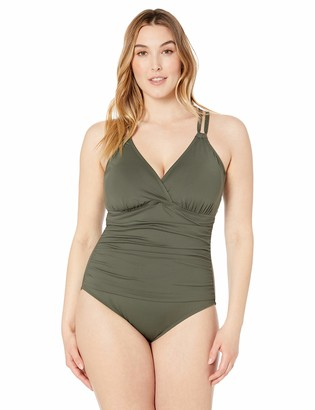 La Blanca Women's Plus Size Underwire Double Strappy Back One Piece Swimsuit