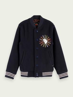Scotch & Soda Wool-blend embroidered baseball jacket | Boys