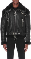 Off-White Double collar shearling leather jacket