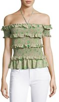Rebecca Taylor Fleur Ruffle-Trim Smocked Off-the-Shoulder Top, Green/Mutlicolor
