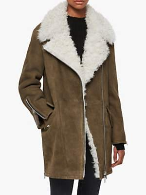 AllSaints Zeta Shearling Longline Aviator Coat, Khaki/Chalk White