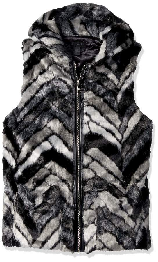Steve Madden Women's Chevron Faux Fur Zip Hood Vest