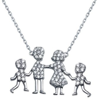 Cosanuova Sterling Silver Family Pendant Two Boys Necklace