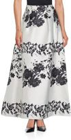 Kay Unger Pleated Printed Long Skirt