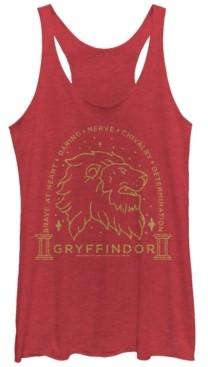 Fifth Sun Harry Potter Gryffindor Brave At Heart Lion Line Art Tri-Blend Women's Racerback Tank