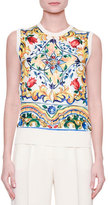 Dolce & Gabbana Jewel-Neck Maiolica Tile-Print Shell, White/Blue/Yellow