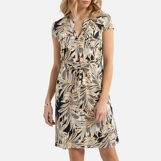 Anne Weyburn Shift Tunic Dress in Tropical Floral Print with Short Sleeves and Pockets
