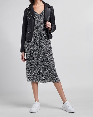 Express Printed Tie Front Midi Dress