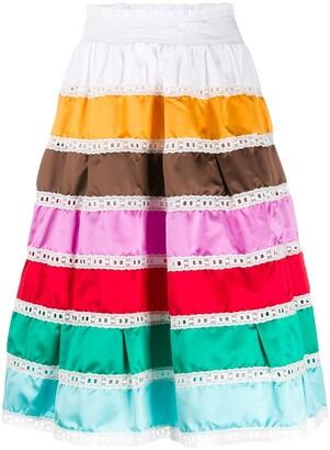 Prada striped prairie skirt