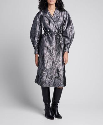 Ganni Metallic Jacquard Long-Sleeve Wrap Dress