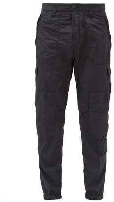 Stone Island Seersucker Cargo Trousers - Mens - Black