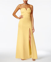 B. Darlin Juniors' Strapless Sweetheart Slit Gown