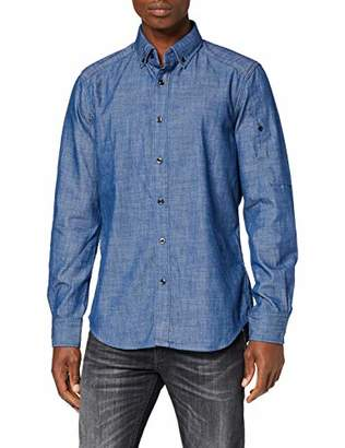 G Star Men's Stalt Button Down Pocket Slim Denim Shirt,Medium