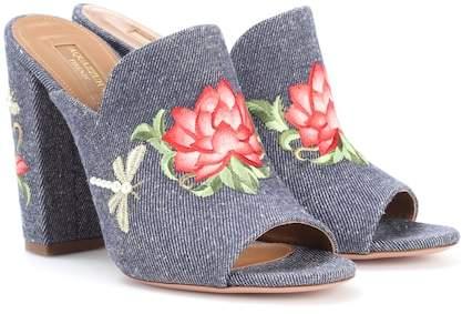 Aquazzura Lotus 105 embroidered denim mules