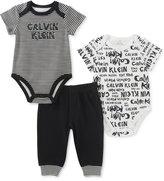 Calvin Klein 3-Pc. Cotton Bodysuits & Pants Set, Baby Boys (0-24 Months)