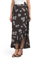 Juniors Floral Printed Wrap Skirt
